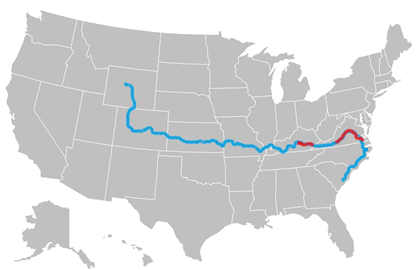My Route So Far (Blue - Cycled Portion)