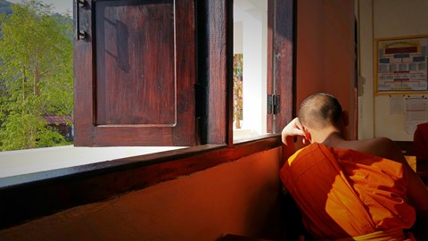 A Novice Monk at one of the Temple Schools we teach at.