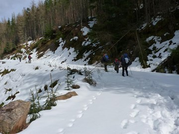 It's a long trek uphill through the snow