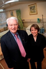 Sir Bobby with Professor Ruth Plummer