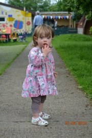 nervour on her 1st day at pre-school