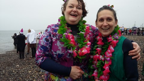 Philippa and her Researcher Rachel at the Prestwick Dip 2015