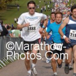 Climbing the hill at mile 1 in the Windsor Half