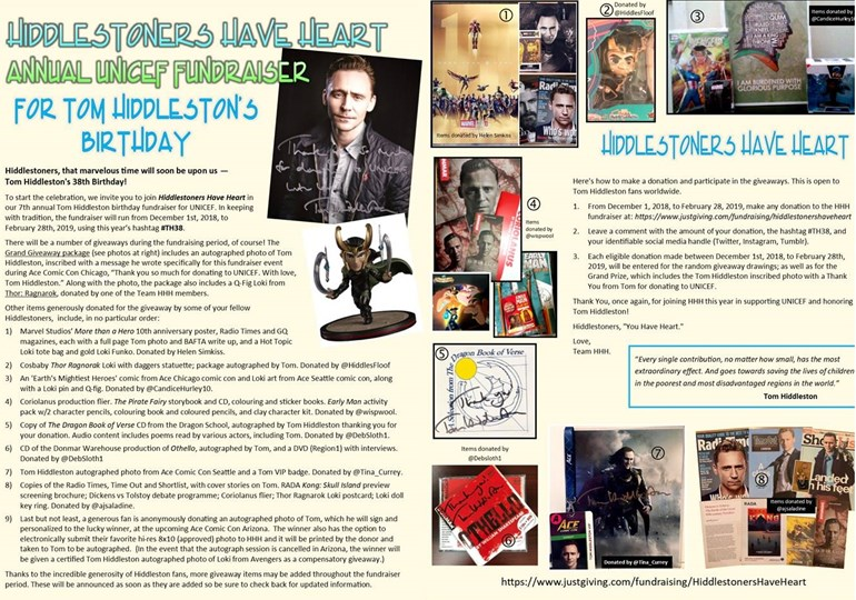 Hiddlestoners Have Heart is fundraising for Unicef UK
