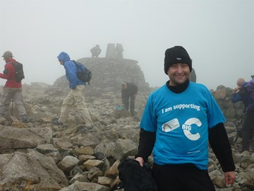 with extra layers on, me at the summit