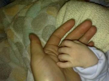 Billy's hand on mine