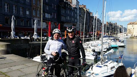 Jon and I in Honfleur.  160Km into our 246Km cycle
