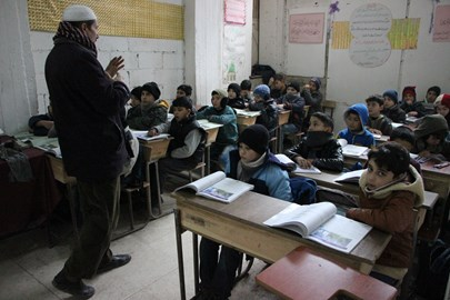 Children in class, Rowad school, Ghouta