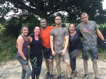 Muddy team after our kamikaze jump