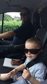 me and chalie in the van