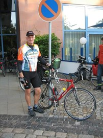 Outside the Hotel in Dessau, East Germany on the way to Poland 2007