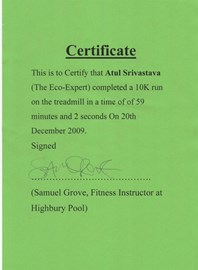10KM Run Certificate