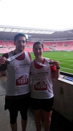 Myself and David after the Sunderland 10k 2015, soaked through but worth it!