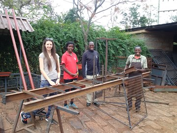 Some of River Power Pod Team Kenya members - Caitlin, Michelle, Fr Maina and Alois