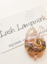 Beautiful Lush! Lampwork pendant with sterling silver chain