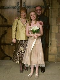 with myself and our daughter at John's niece Leanne's wedding in 2009