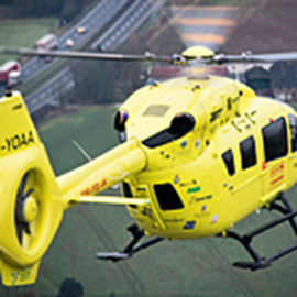 Yorkshire Air Ambulance helicopter G-YOAA in flight. © Yorkshire Air Ambulance Charity. Image used on this 'Just Giving' page with prior permission from the YAA.