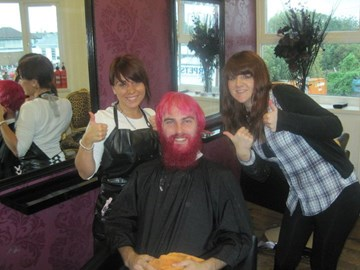 Me with the girls dying my hair!