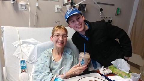 Logan bring Grandma a shake