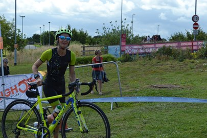 heading out on the bike. York tri