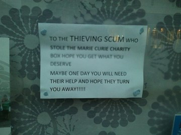 The sign in the local cafe