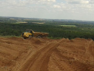 Large scale sand spreading at Thoresby Colliery - the 1st stage in restoring heathland
