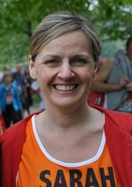 Sarah running the London Marathon 2011