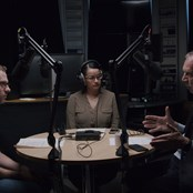 Professor Peter Piot, James Barr and Naomi Stewart recording LSHTM Viral podcast.