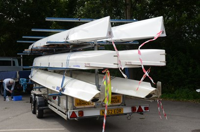 A busy day today loading 6 boats on the trailer, 3 for DARC crews, 1 for Tees, another that Tees is loaning to Tyne and one that Tynemouth is borrowing from Durham