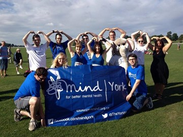 Doing the Mo-Bot with the York Mind runners and helpers, pre race looking at the state of us.