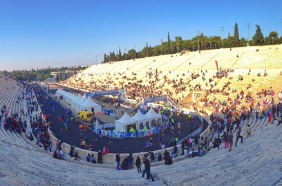 The finish line inside the magnificent Panathenaic Stadium in Athens
