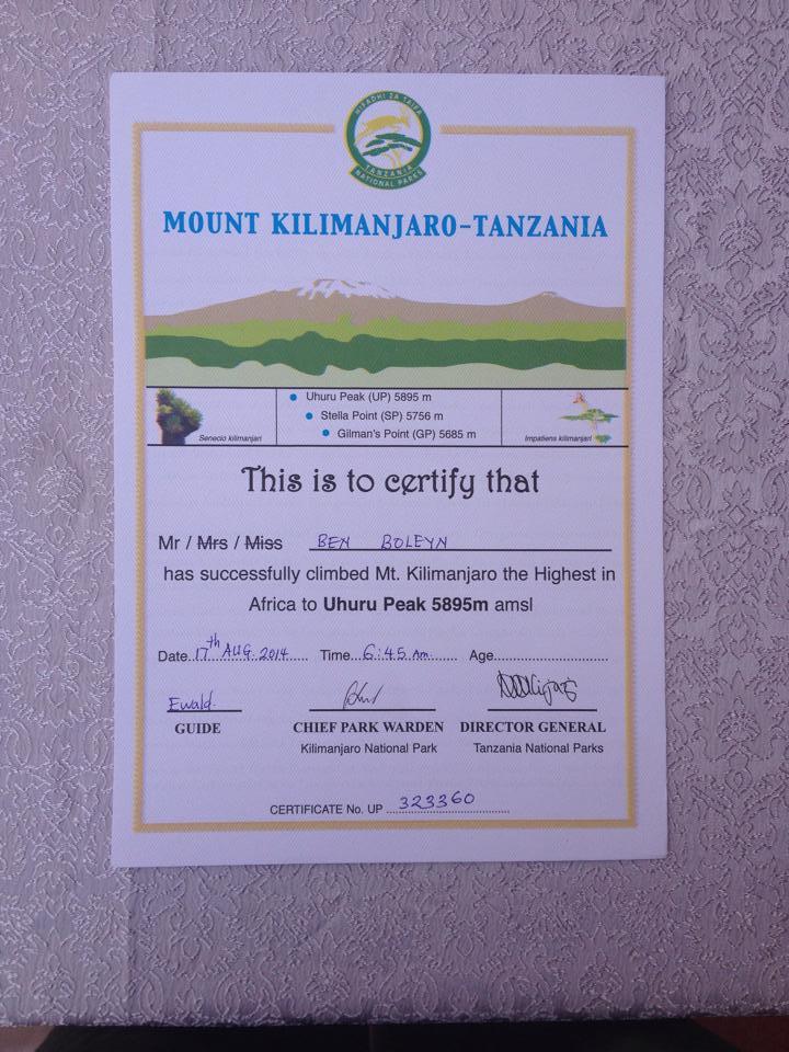 Ben Boleyn am 14.08.2014 Uhuru Peak