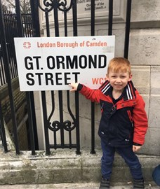Harrison at Great Ormond Street Hospital, another hospital he visits.
