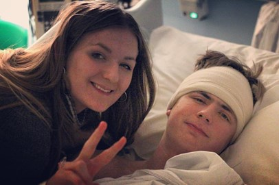 Jake with his sister Rosie on High Dependenct Unit. 8 February: 1st day afte 10 hours of brain surgery