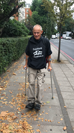 Rob on his way to Lords Cricket Ground 2018