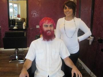 Growing my beard pink!!!!