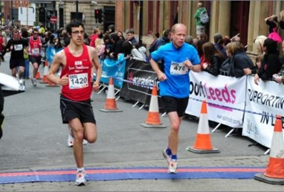 Finishing the Leeds Half Marathon 2010