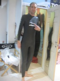 Trying on my wetsuit