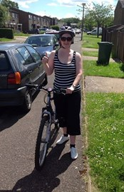 Racheal King dusted off her bike yesterday to rack up some more miles for Team Watford Head Office for the Jurys Inn Charity Challenge 2014