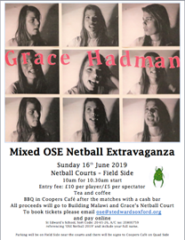 Invitation to the Netball Extravaganza on 16 June