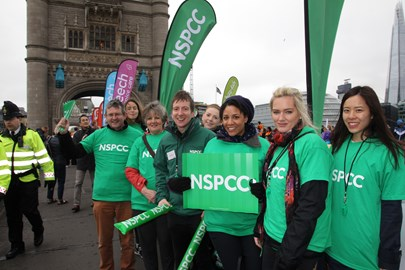 Team NSPCC at their cheer point!