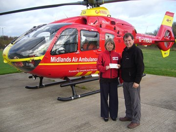 Handing over cheque to Annie Newell