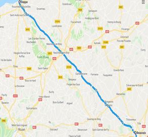 Day 2: Dieppe to Beauvais - 100km/62 miles