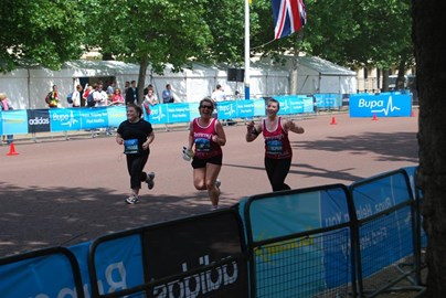 me and mum almost at the finish line