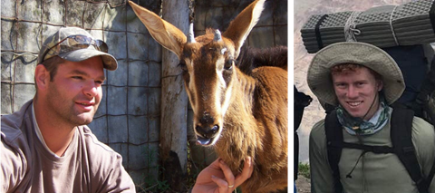 (Left): Josh Mostert with an orphaned sable; (Right) Josh Freeth acclimatising for the Mt Aconcagua fundraiser in 2017