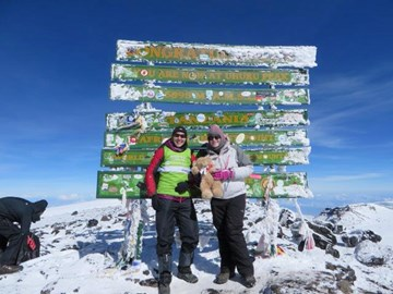 Trish and I at the summit of Kilimanjaro