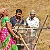 Villagers near Panchgani in India work to construct ferro-cement tank to store rainwater.