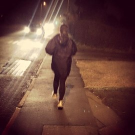 Continuing our training for the 10k. Here's Laura on her 2 mile run last night