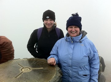 Lesley and Chris at the top of Snowdon