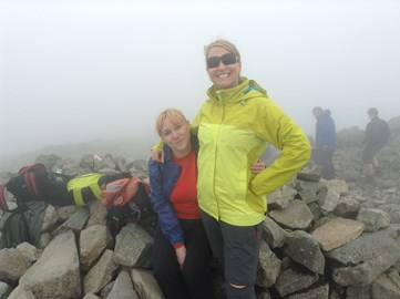 Suzanne conquering Scafell Pike on recent training exercise